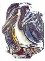 Pelican [b&w w-cut, rear stencil, paint thinner, 22 1/2 x 30 in.] 1980